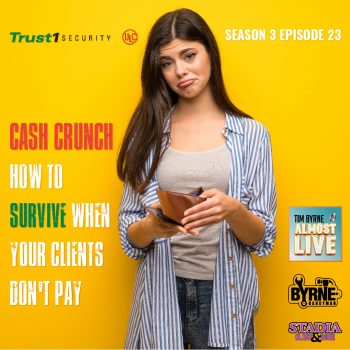It's every contractors worst nightmare. Your client isn't paying. So, what do you do? The practice of big companies delaying payment to their contractors has become so widespread that it's threatening the survival of a lot of small businesses. In today's episode I talk about the problem with Doug Macy from Trust 1 Security. I share some horror stories from my 35 years in business. Including the story of what happened when I put a lien in a building owned by one of the biggest developers in Toronto. It wasn't pretty! ******************** INSTAGRAM: https://www.instagram.com/timbyrnealmostlive TWITTER: https://twitter.com/timbyrnealmost  FACEBOOK: http://www.Facebook.com/TimByrneAlmosLive